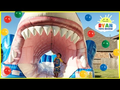 Thumbnail: Giant Inflatable Water Slide Shark Ball Pits with Balloons Pop Challenge Surprise Toys Learn Colors