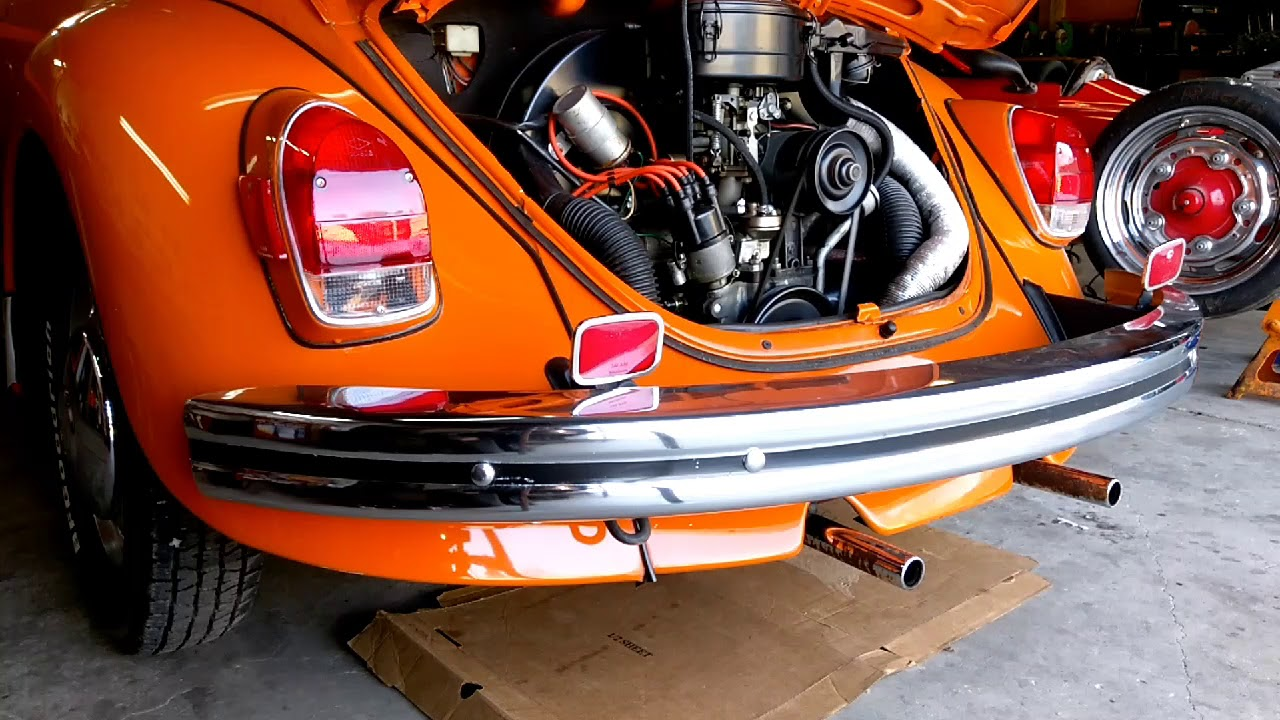 Stock VW Beetle muffler replaced with Tri-Mil Euro 2 tip exhaust - before  and after