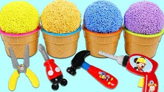 Play Foam Surprise Cups Opening Using Disney Mickey Mouse Mousekadoer Tools!