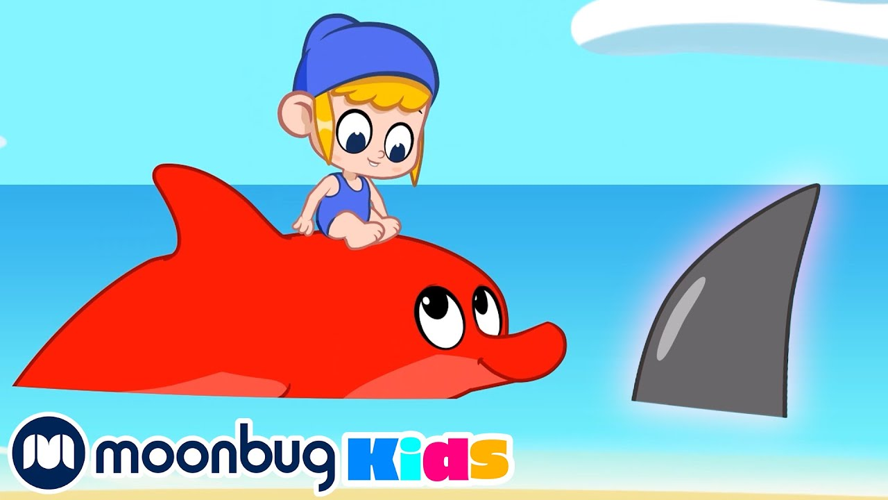 MORPHLE At The Beach - Scary Shark! | Learn | ABC 123 Moonbug Kids | Fun Cartoons | Learning Rhymes