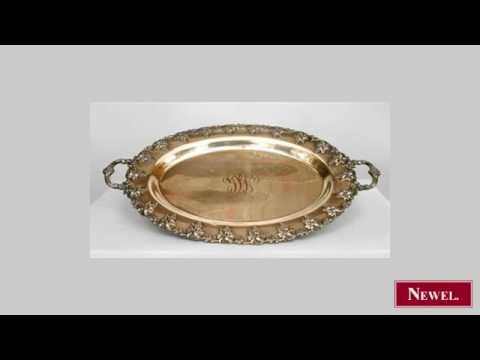 Antique English Victorian oval silver plate etched and