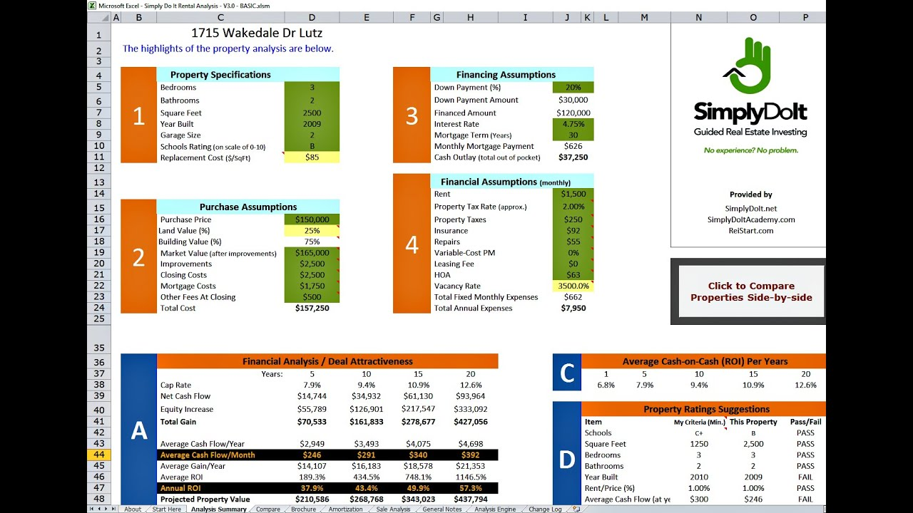 Excel Rental Property Analysis by SimplyDoIt net