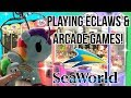 Playing Eclaw Claw Machines & Arcade Games at SeaWorld + VLOG!