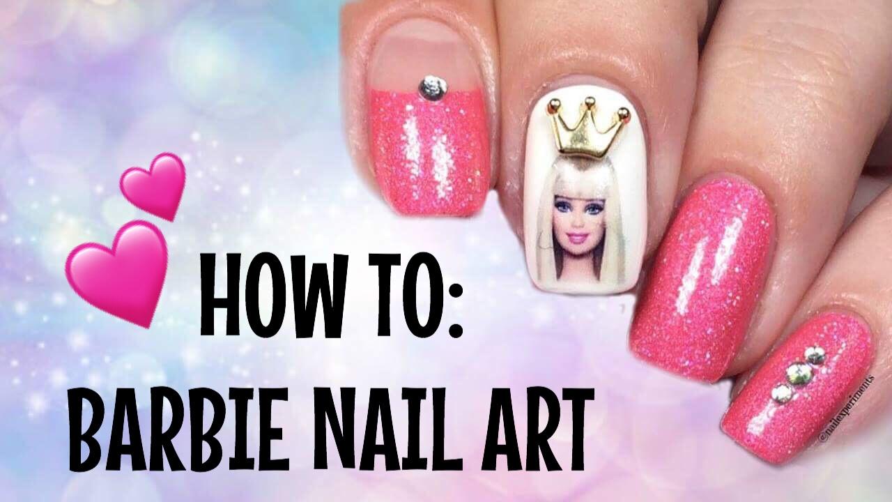 Nail art tutorial barbie nail art youtube nail art tutorial barbie nail art prinsesfo Images