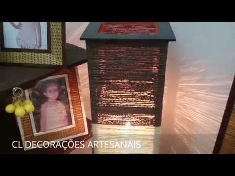 Abajur Luminária Artesanal De Chão Sisal Marrom E Cru 1,50m