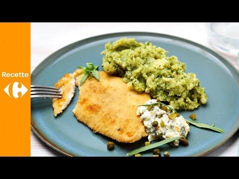filets-de-plie-panés,-sauce-tartare-fraîche-et-purée-de-brocoli