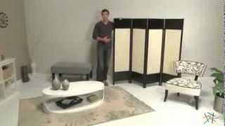 Griffin Canvas 4 Panel Room Divider In Black - Product Review Video