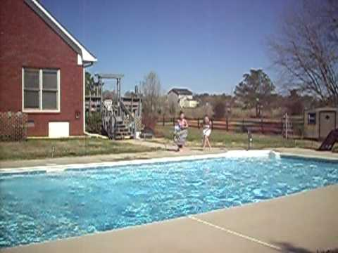 Hannah And Chandler Jumping In The Pool