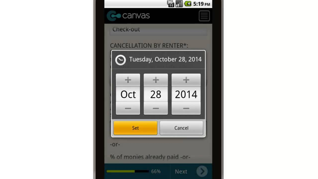 Canvas Timeshare Rental Agreement Mobile App