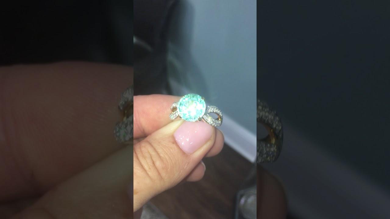 Rare Neon Blue Paraiba Tourmaline & Diamond 18K Ring