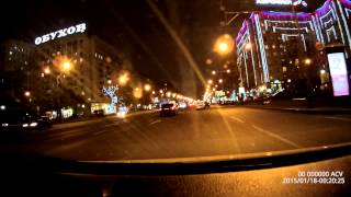 Driving in Moscow at night
