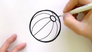How to Draw a Cartoon Beach Ball