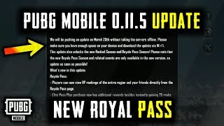 PUBG MOBILE 0.11.5 UPDATE IS HERE WHAT'S NEW ! SEASON 6 ROYALE PASS