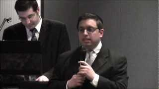 Gobbie Cohn sings his composition of Mi Bon Siach at Sheva Brachos March 19, 2013