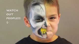 Repeat youtube video Half Squeleton FACE PAINTING - MAQUILLAGE POUR ENFANTS