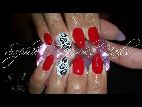 acrylic nails l red white black