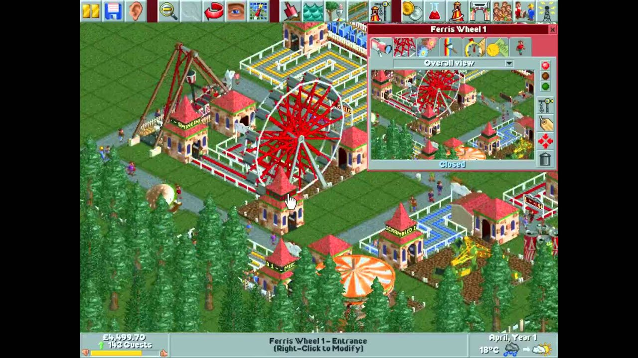 Rollercoaster Tycoon 1 Gameplay - Forest Frontiers