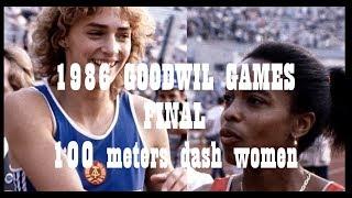 Final 100 meters dash women 1986 Goodwill Games
