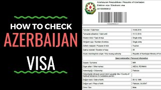 Azerbaijan Visa Check Online 2020
