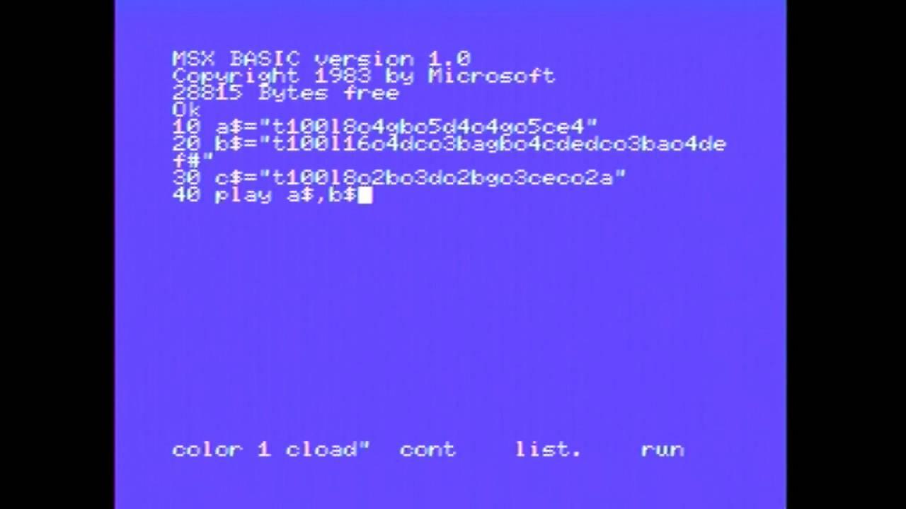 Making music in MSX Basic