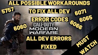 All DEV Error 6065, 6066 ,5757, 6071 Call Of Duty Modern Warfare [FIXED]ALL Possible FIXES EXPLAINED