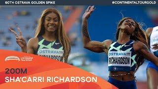 Sha'Carri Richardson wins 200m in 22.35 | Ostrava Golden Spike Continental Tour Gold