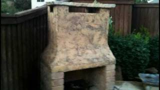 Diy Outdoor Stone Fireplace With Bench Sitting Rowett Texas