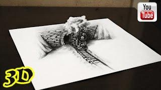 3D Рисунок простым карандашом Иллюзия ПАРОВОЗ ★ illusion(Как нарисовать 3D рисунок