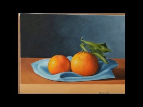 oil painting tutorial : how to paint a still life with oranges in oil colors