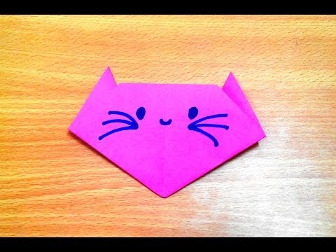 How to make an origami cat face step by step.