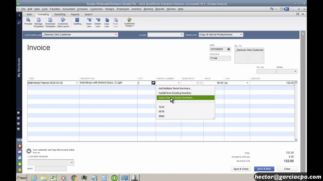 QuickBooks Enterprise Advanced Inventory: Serial Numbers and Lot Numbers