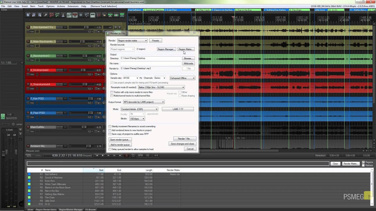 Reaper Tutorial: Rendering Multiple Tracks at Once
