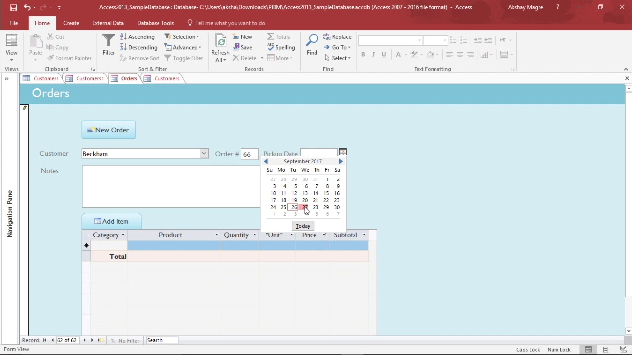 MS Access 2016 - View and Edit Data in Form - YouTube