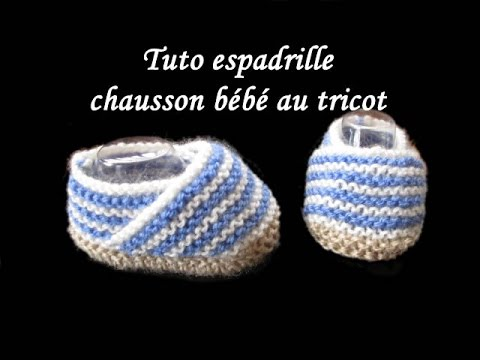 e386db8768889 TUTO ESPADRILLE CHAUSSON BEBE AU TRICOT baby bootie espadrille knitting  tutorial