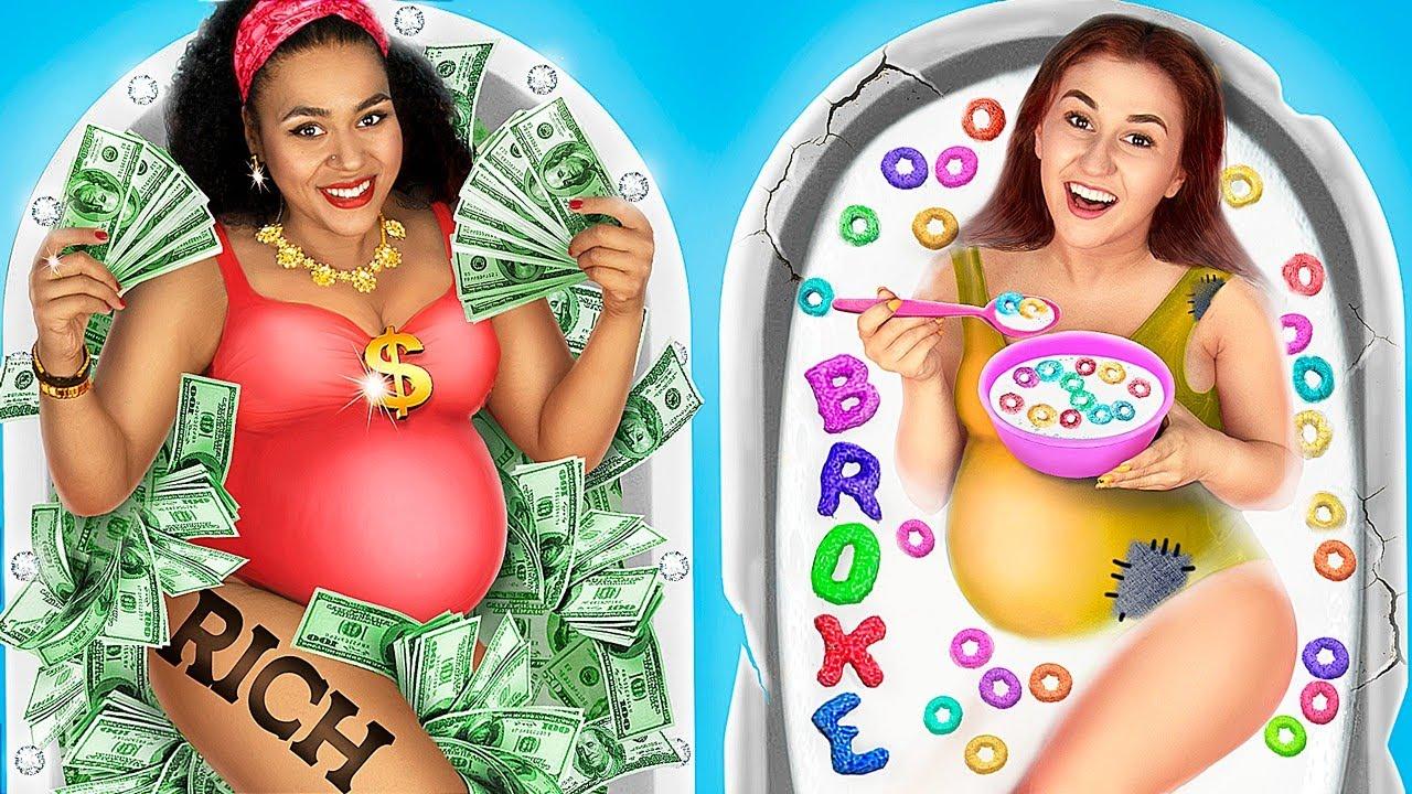Rich Pregnant vs Broke Pregnant / 21 Funny Pregnancy Situations