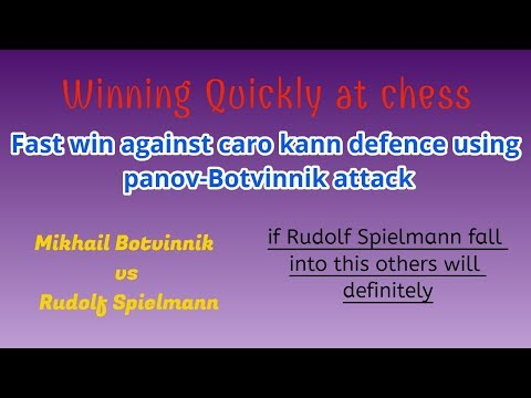 Winning Quickly at chess : Caro Kann Panov Botvinnik Attack | Mikhail Botvinnik vs Spielmann, Moscow