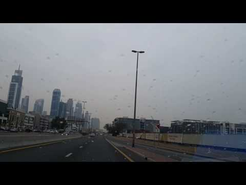 Rainy day with Emirati Radio song in Dubai 16.02.2017