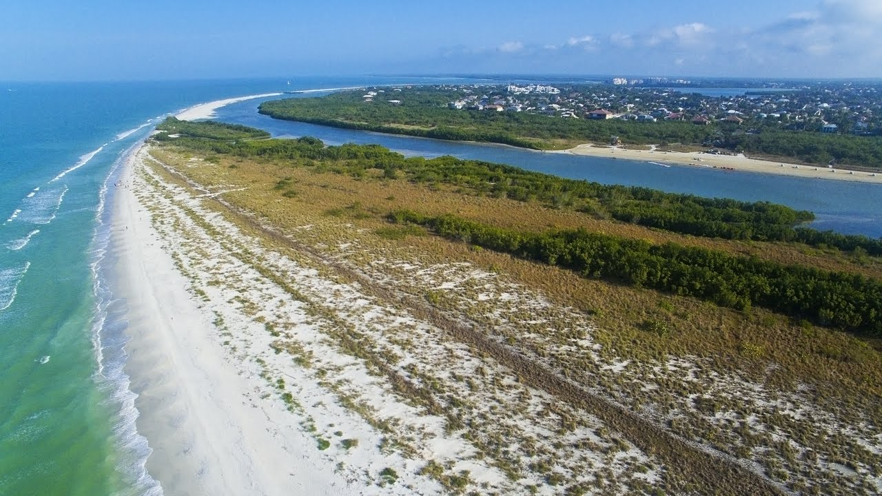 Aerial Video Footage Of Sand Dollar Island At Tigertail Beach Marco Fl