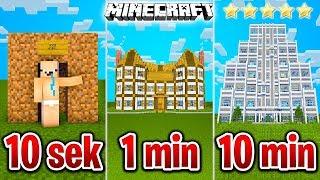 Minecraft BUDUJĘ HOTEL W 10 SEKUND, 1 MINUTĘ I 10 MINUT!