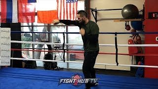 JOSEPH PARKER SHADOW BOXING AS HE PREPARES FOR ANTHONY JOSHUA SHOWDOWN
