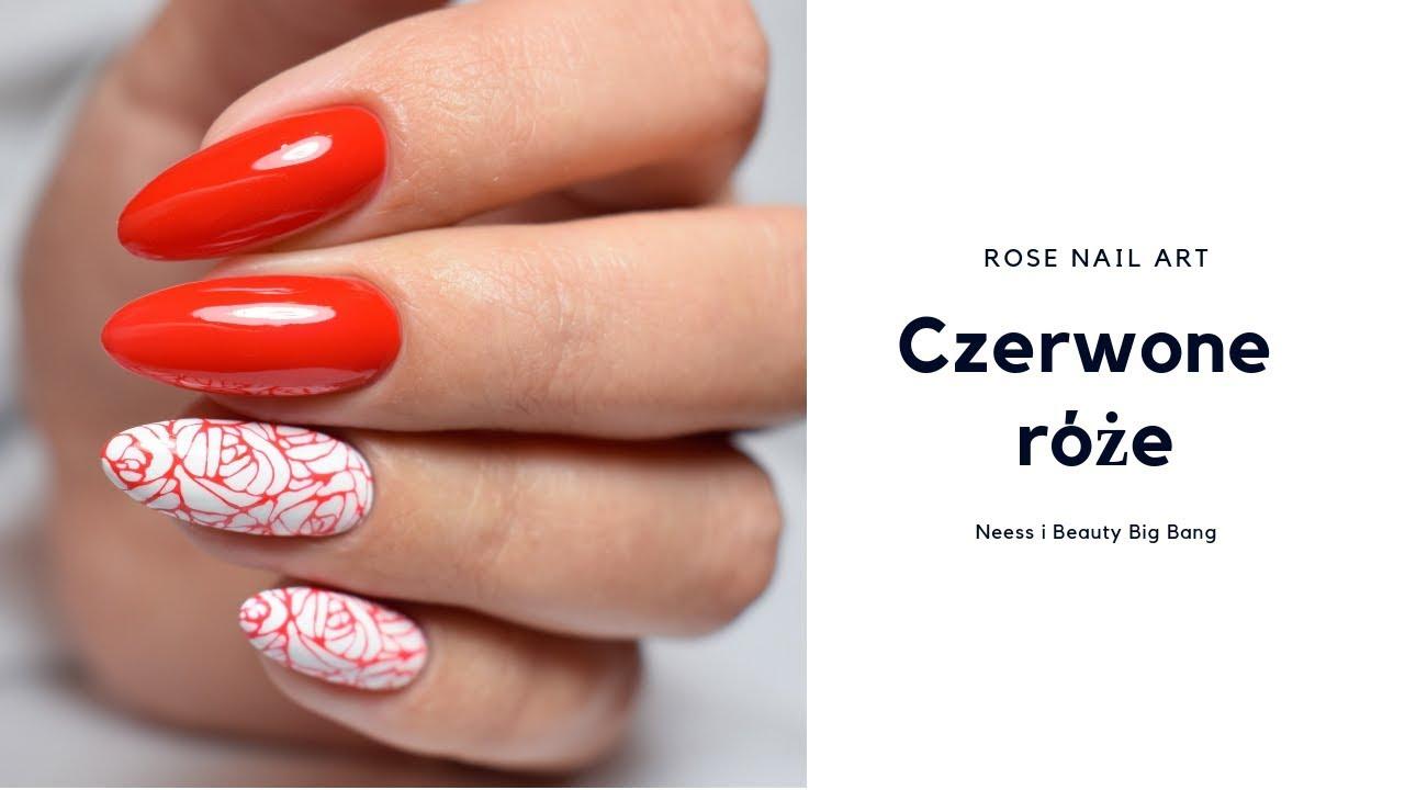 Stemple Na Paznokciach Czerwone Roze Rose Nail Art Neess