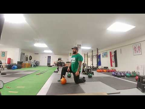Kneeling Kettlebell Clean And Press Strength Workout Session