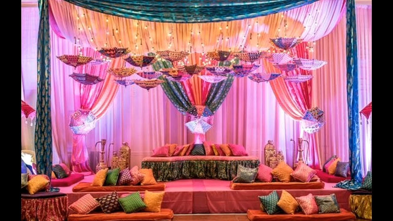 Stylish mehndi decor ideas images photos 2018 mehndi for Mehndi decoration