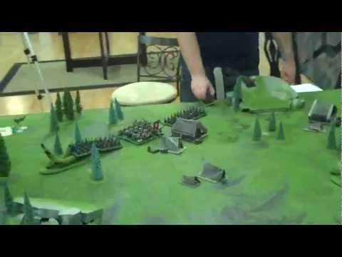 Orcs vs Dwarfs 01 Chance Encounter at a human mining camp Batrep Warhammer Fantasy