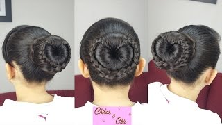 Braided Heart Bun!! - Braided Love bun!! | Valentine's Day Hairstyles | Chikas Chic