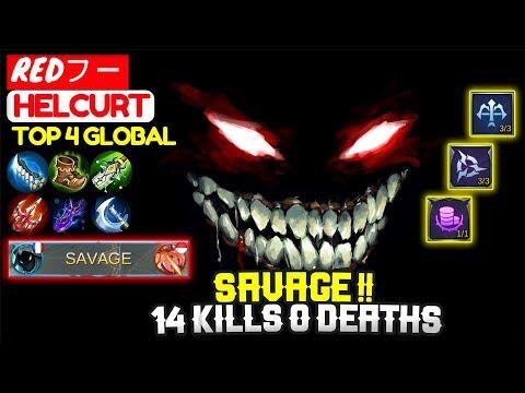 SAVAGE !! [ Top Global Helcurt ] REDフー - Mobile Legends