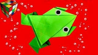 Как сделать прыгающую ЛЯГУШКУ из бумаги. Лягушка оригами своими руками. Оригами поделки