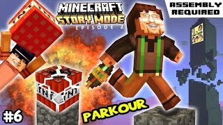 Lets Play Minecraft Story Mode #6: PARKOUR in BOOM TOWN (Episode Two: Assembly Required)