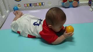 도하 212일 | 7개월 아기 | 축구 유니폼 입고 공…