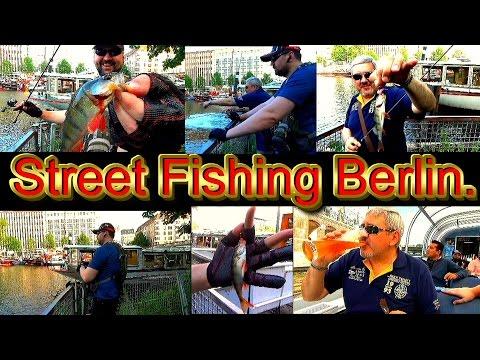 Как поймать окуня в Берлине. Street Fishing Berlin.Сначала пиво и сосиски) потом - рыбалка.
